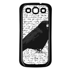 Black Raven  Samsung Galaxy S3 Back Case (black) by Valentinaart