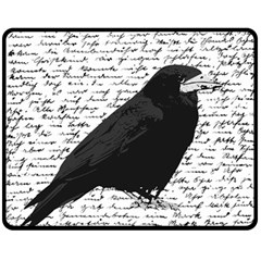 Black Raven  Double Sided Fleece Blanket (medium)  by Valentinaart