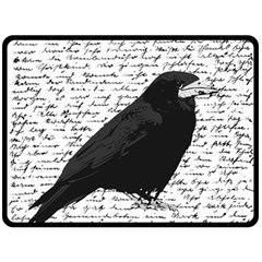 Black Raven  Double Sided Fleece Blanket (large)  by Valentinaart