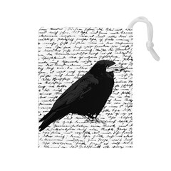 Black Raven  Drawstring Pouches (large)  by Valentinaart