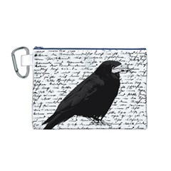 Black Raven  Canvas Cosmetic Bag (m) by Valentinaart