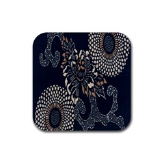 Patterns Dark Shape Surface Rubber Square Coaster (4 Pack)  by Simbadda