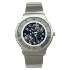 Patterns Dark Shape Surface Stainless Steel Watch by Simbadda
