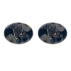 Patterns Dark Shape Surface Cufflinks (oval) by Simbadda