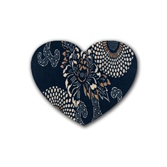Patterns Dark Shape Surface Rubber Coaster (heart)  by Simbadda