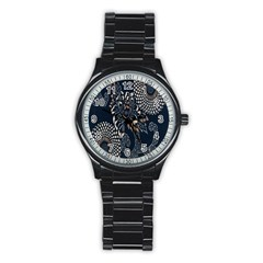 Patterns Dark Shape Surface Stainless Steel Round Watch by Simbadda
