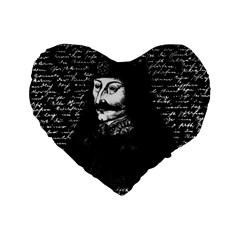 Count Vlad Dracula Standard 16  Premium Flano Heart Shape Cushions by Valentinaart