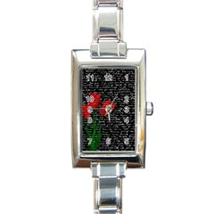 Red Tulips Rectangle Italian Charm Watch by Valentinaart