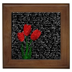 Red Tulips Framed Tiles by Valentinaart