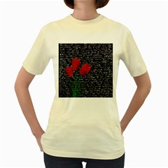 Red Tulips Women s Yellow T Shirt by Valentinaart