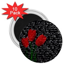 Red Tulips 2 25  Magnets (10 Pack)  by Valentinaart