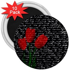 Red Tulips 3  Magnets (10 Pack)  by Valentinaart