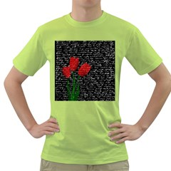 Red Tulips Green T Shirt by Valentinaart
