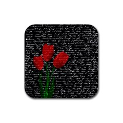 Red Tulips Rubber Square Coaster (4 Pack)  by Valentinaart