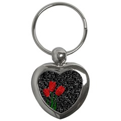 Red Tulips Key Chains (heart)  by Valentinaart