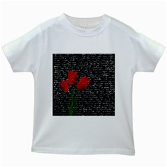 Red Tulips Kids White T Shirts by Valentinaart