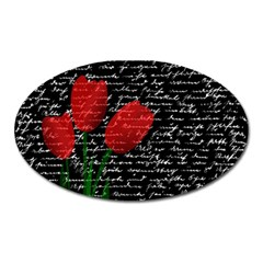 Red Tulips Oval Magnet by Valentinaart