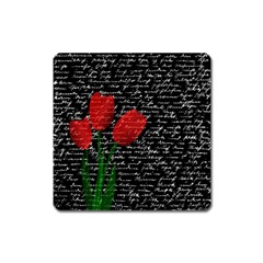 Red Tulips Square Magnet by Valentinaart