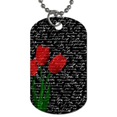 Red Tulips Dog Tag (two Sides) by Valentinaart