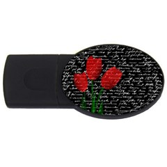 Red Tulips Usb Flash Drive Oval (2 Gb) by Valentinaart