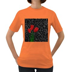 Red Tulips Women s Dark T Shirt by Valentinaart