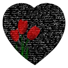 Red Tulips Jigsaw Puzzle (heart) by Valentinaart