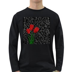 Red Tulips Long Sleeve Dark T Shirts by Valentinaart