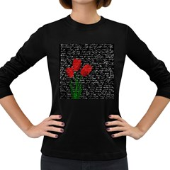 Red Tulips Women s Long Sleeve Dark T Shirts by Valentinaart