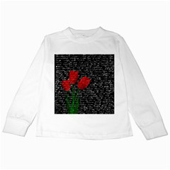 Red Tulips Kids Long Sleeve T Shirts by Valentinaart