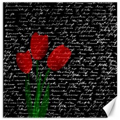 Red Tulips Canvas 16  X 16   by Valentinaart