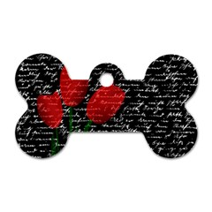 Red Tulips Dog Tag Bone (two Sides) by Valentinaart