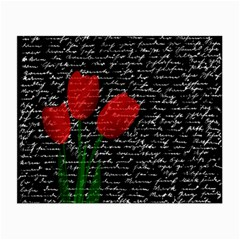 Red Tulips Small Glasses Cloth (2 Side) by Valentinaart