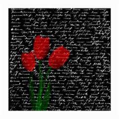 Red Tulips Medium Glasses Cloth by Valentinaart