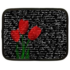 Red Tulips Netbook Case (large) by Valentinaart