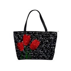 Red Tulips Shoulder Handbags by Valentinaart