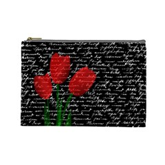 Red Tulips Cosmetic Bag (large)  by Valentinaart