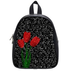 Red Tulips School Bags (small)  by Valentinaart