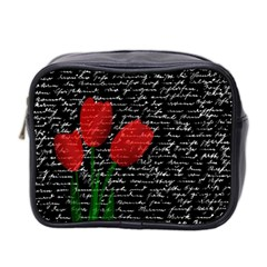 Red Tulips Mini Toiletries Bag 2 Side by Valentinaart