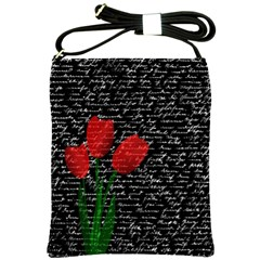 Red Tulips Shoulder Sling Bags by Valentinaart