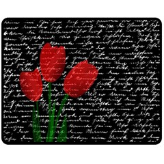 Red Tulips Fleece Blanket (medium)  by Valentinaart