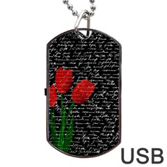 Red Tulips Dog Tag Usb Flash (one Side) by Valentinaart