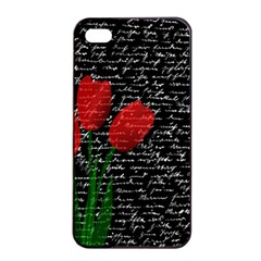 Red Tulips Apple Iphone 4/4s Seamless Case (black) by Valentinaart