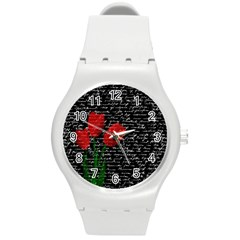 Red Tulips Round Plastic Sport Watch (m) by Valentinaart