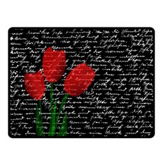 Red Tulips Double Sided Fleece Blanket (small)  by Valentinaart