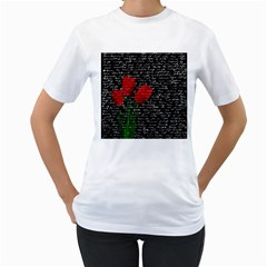 Red Tulips Women s T Shirt (white)  by Valentinaart