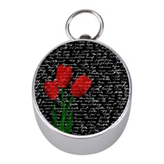 Red Tulips Mini Silver Compasses by Valentinaart
