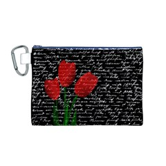 Red Tulips Canvas Cosmetic Bag (m) by Valentinaart