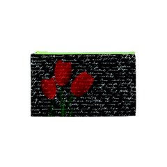 Red Tulips Cosmetic Bag (xs) by Valentinaart