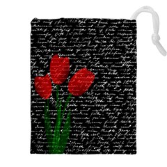 Red Tulips Drawstring Pouches (xxl) by Valentinaart