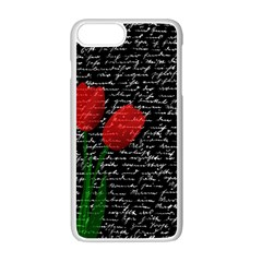 Red Tulips Apple Iphone 7 Plus White Seamless Case by Valentinaart